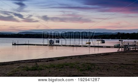 pink sunset landscape at Maskinonge Lake St-Gabriel-de-Brandon Quebec Canada