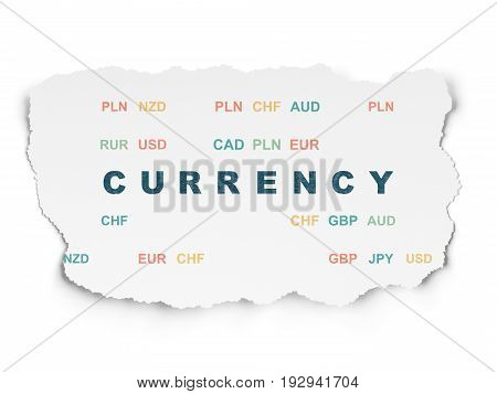 Banking concept: Painted blue text Currency on Torn Paper background with  Currency