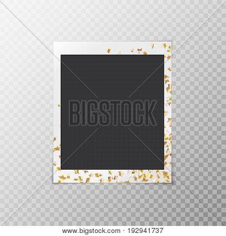 Festive photo frame with golden confetti stars isolated on transparent background