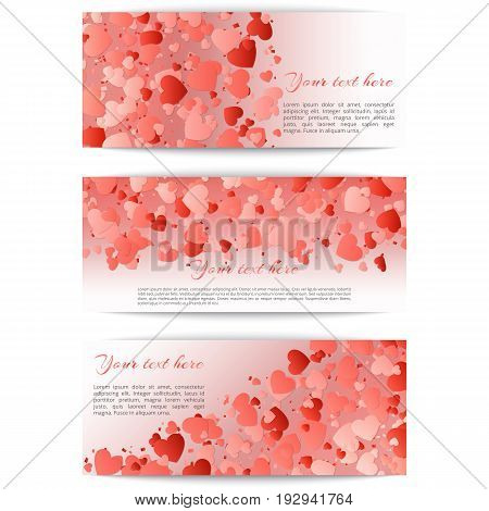 Set of romantic banners with hearts confetti on a pink background. Vector festive illustration for mothers day