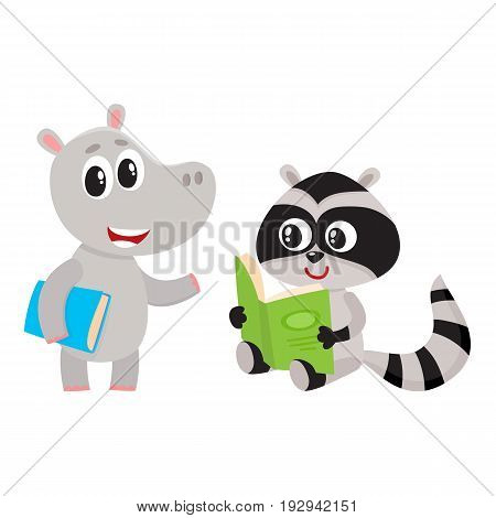 Cute animal student characters, hippo standing with book, raccoon reading, cartoon vector illustration isolated on white background. Little animal students, back to school concept, hippo and raccoon