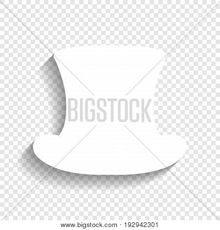 Top hat sign. Vector. White icon with soft shadow on transparent background.