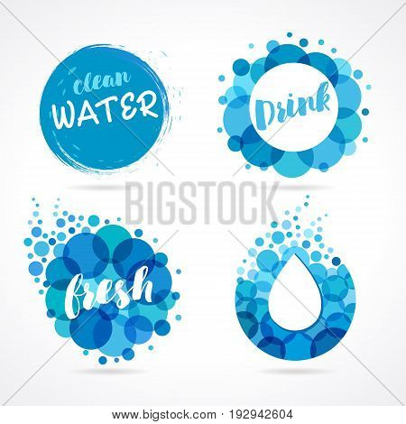 Abstract water logo set design. Vector set of abstract aqua blue symbols, clean water drops and wave logo template
