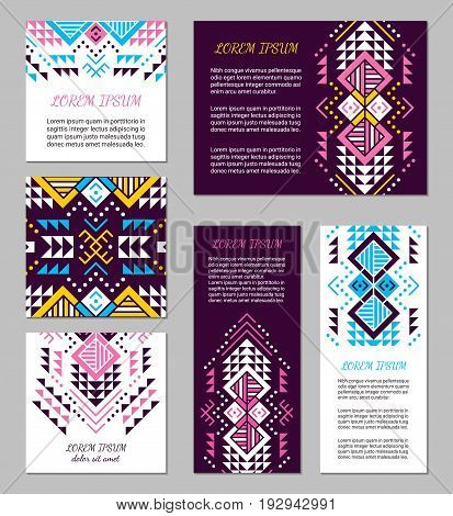 Aztec style colorful flyer set. American indian pattern design. Ornamental collection with ethnic motifs. Tribal decorative template. EPS 10 vector concept.