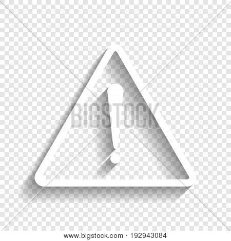 Exclamation danger sign. Flat style. Vector. White icon with soft shadow on transparent background.