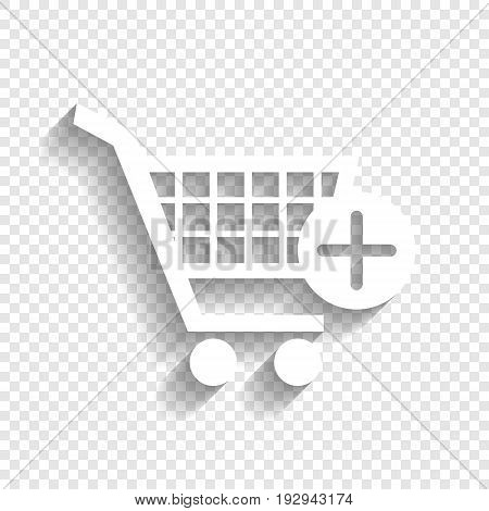 Shopping Cart with add Mark sign. Vector. White icon with soft shadow on transparent background.