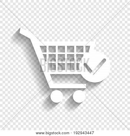 Shopping Cart with Check Mark sign. Vector. White icon with soft shadow on transparent background.