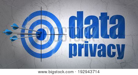 Success safety concept: arrows hitting the center of target, Blue Data Privacy on wall background, 3D rendering