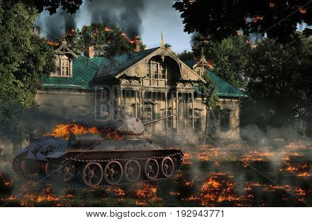 Burning tank at the burning manor. Tank protection from the enemy in the countryside