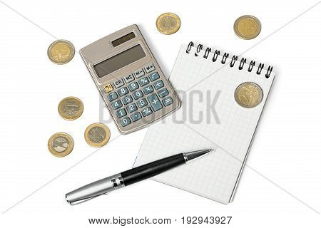 Calculator check white background money number close-up
