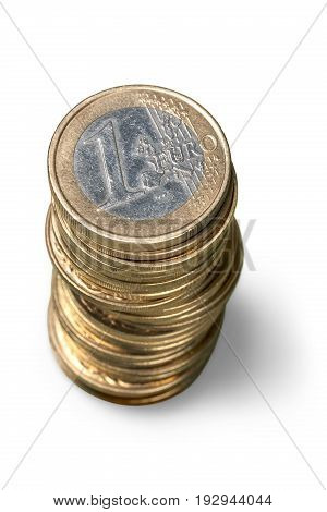 White background stack stacked coins group money