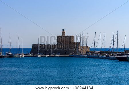 Fort Of Saint Nicholas In Rhodes, Greece.
