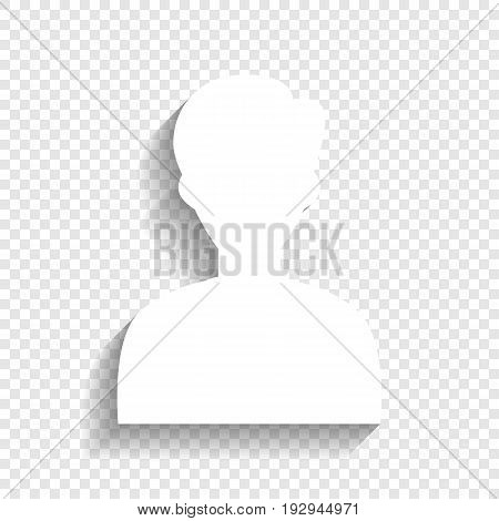 User avatar illustration. Anonymous sign. Vector. White icon with soft shadow on transparent background.