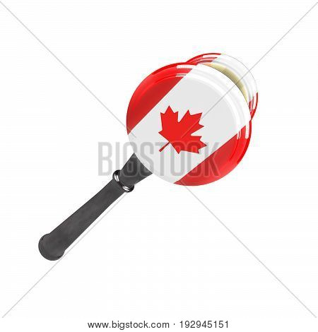 Canada sanctions against Russia. Judge hammer Canada flag and emblem. 3d illustration. Isolated on white background.