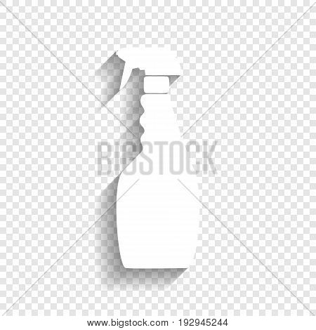 Plastic bottle for cleaning. Vector. White icon with soft shadow on transparent background.