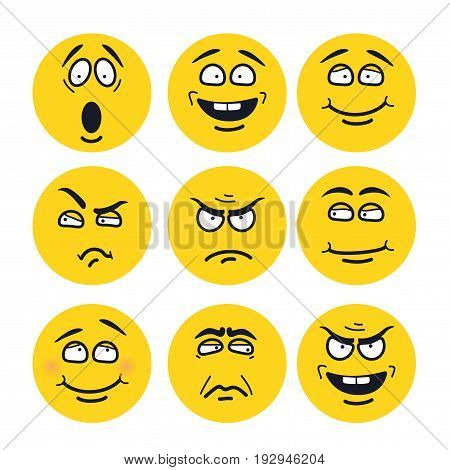 Vector cartoon faces with expressions. Emotion set. Scared, happy, smiling, skeptical, ungry, pensive, embarrassed, upset, insidious.