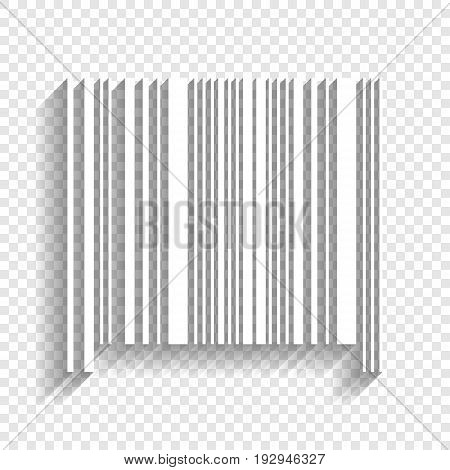 Bar code sign. Vector. White icon with soft shadow on transparent background.