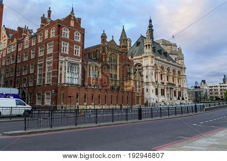 LONDON, GREAT BRITAIN - MAY 11, 2014: These are houses of the Vitorian neo-Gothic style on the Victoria Embankment.