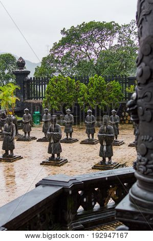 Statues Of Warriors In Temple Yard