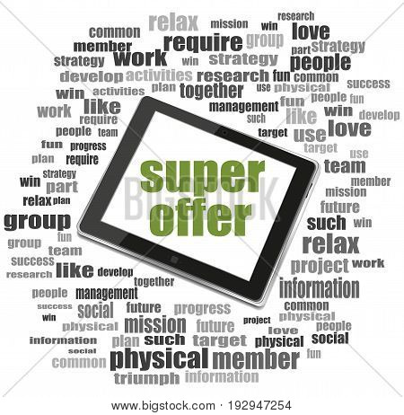 Marketing Concept. Words Super Offer . Word Collage With Tablet Pc