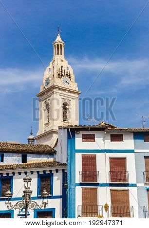 Tower Of The Basilica Santa Maria And Blue Houses In Xativa