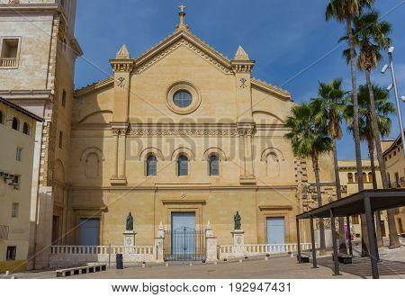 Facade Of The Basilica De Santa Maria In Historic Xativa