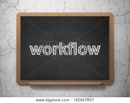 Finance concept: text Workflow on Black chalkboard on grunge wall background, 3D rendering
