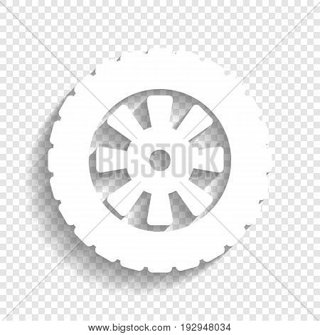 Road tire sign. Vector. White icon with soft shadow on transparent background.