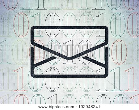 Finance concept: Painted black Email icon on Digital Data Paper background with  Binary Code