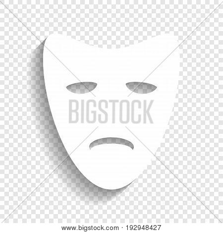 Tragedy theatrical masks. Vector. White icon with soft shadow on transparent background.