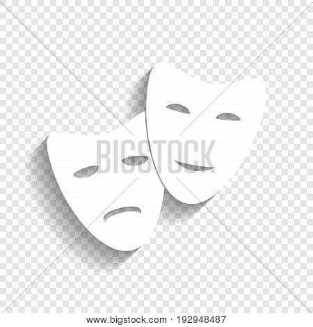 Theater icon with happy and sad masks. Vector. White icon with soft shadow on transparent background.