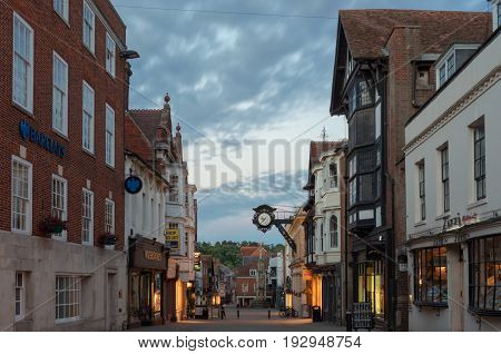 Winchester, UK. 25th June 2017. The streets of Winchester City centre at dusk on a quiet, warm summer's evening.