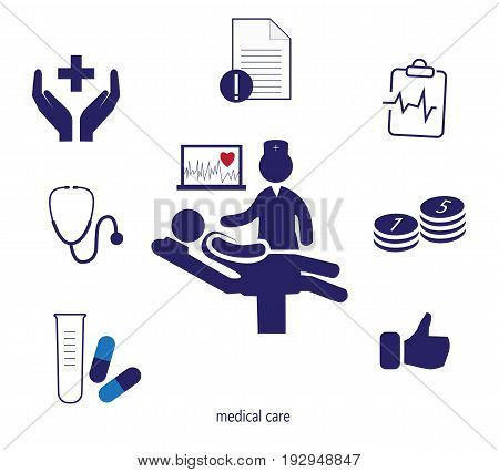Icons set of medical expertise. Doctor, ECG, treatment costs, insurance treatment service