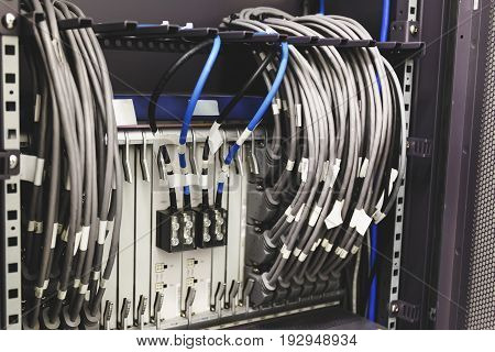 Fiber Network Server, Optical cables, Hardware Equipment in Datacenter, Modern Internet Technology Computer Information Concept