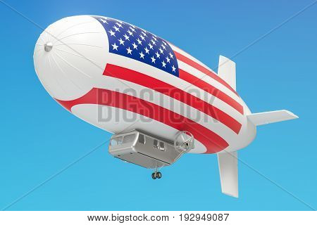 Airship or dirigible balloon with USA flag 3D rendering isolated on white background