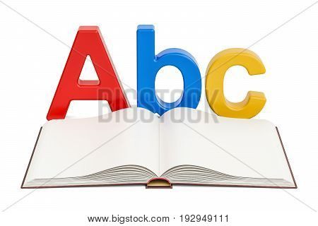 Education concept. Opened blank book with ABC letter 3D rendering