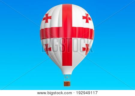 Hot air balloon with Georgian flag 3D rendering