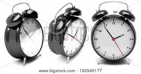 Retro alarm clocks. 3D illustration isolated on a white background.