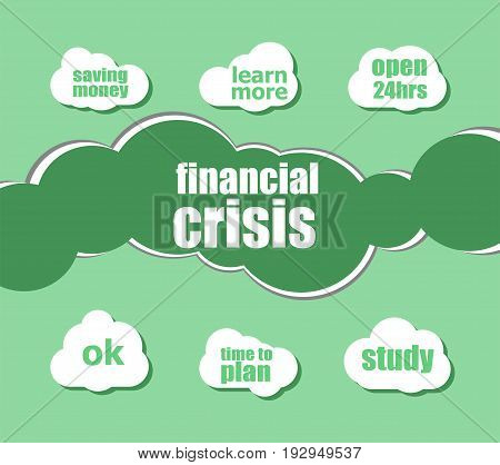 Text Financial Crisis. Business Concept . Word Lettering Typography With Line Icons And Tag Cloud On