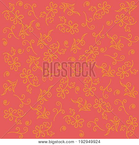 Floral wallpaper on a saturated peach background