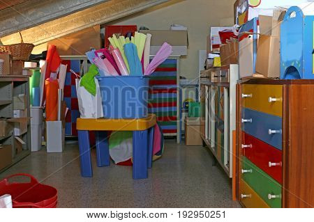 School Supplies In The Attic Of The Kindergarten