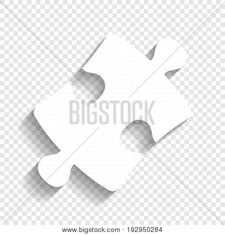 Puzzle piece sign. Vector. White icon with soft shadow on transparent background.