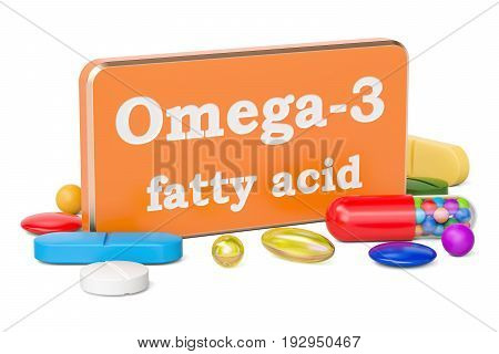 Vitamin Omega-3 concept 3D rendering isolated on white background