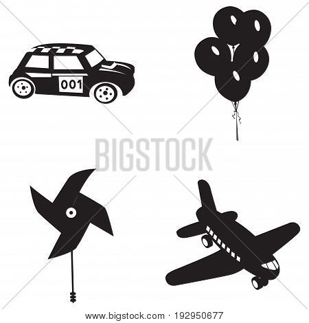 Set of silhouettes of different toys, Vector illustration