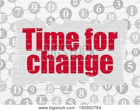 Time concept: Painted red text Time for Change on White Brick wall background with Scheme Of Hexadecimal Code