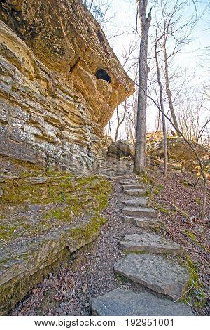 Stone Steps on a Hidden Trail in Devils Den State Park in Arkansas