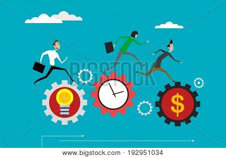 Concept illustration of business competition . Vector flat graphic