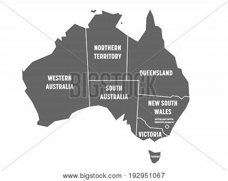 Simplified map of Australia divided into states and territories. Grey flat map with white borders and white labels. Vector illustration.