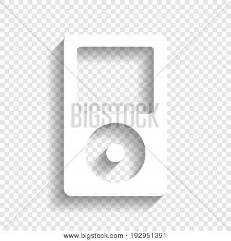Portable music device. Vector. White icon with soft shadow on transparent background.