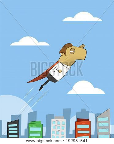 Cartoon businessman flying over the city. Super worker concept illustration. Vector